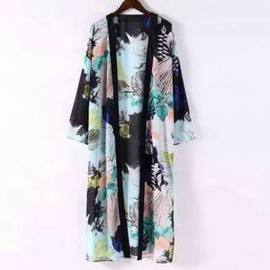 Boho Sheer Palm Print Kimono